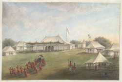 The exterior of the audience tent, with an Indian potentate being borne away in a palanquin